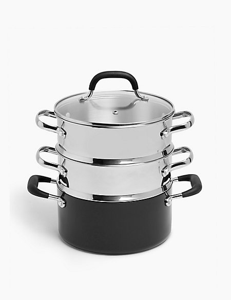 Black Aluminium 3-Tier Non-Stick Steamer