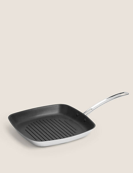 Stainless Steel Non-Stick 27cm Grill Pan