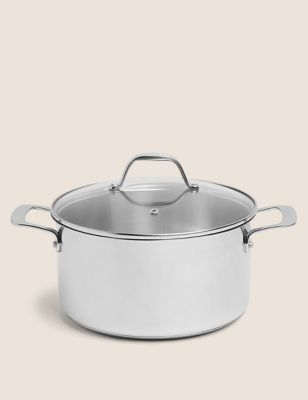 Image of Stainless Steel 24cm Medium Stock Pot - Silver, Silver