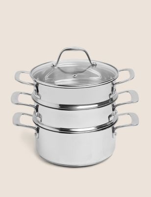 Image of Stainless Steel 3 Tier Steamer - Silver, Silver