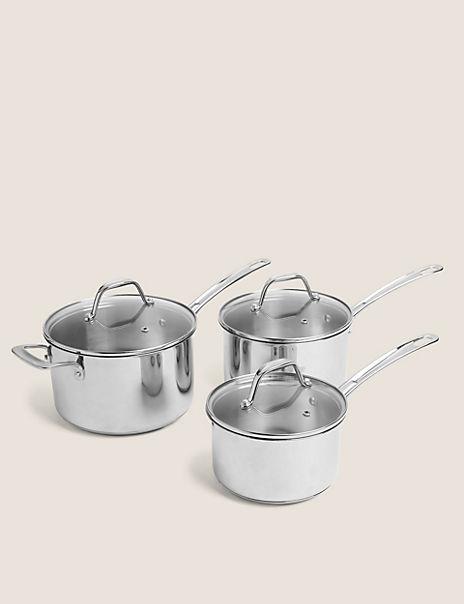 Stainless Steel 3 Piece Saucepan Set