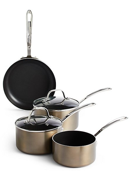 Set of 4 Metallic Effect Pans