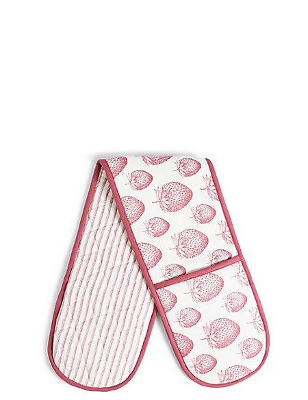 Strawberry Core Print Double Oven Glove