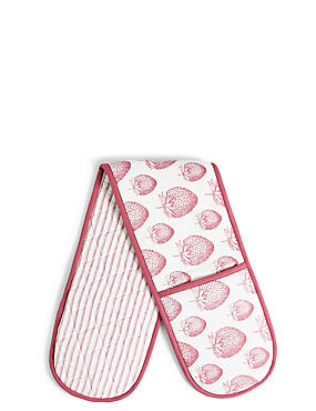 Strawberry Core Print Double Oven Glove