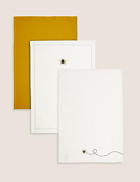 Set of 3 Pure Cotton Bee Tea Towels