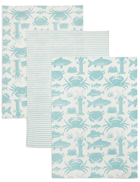 3 Pack Seaside Print Tea Towel
