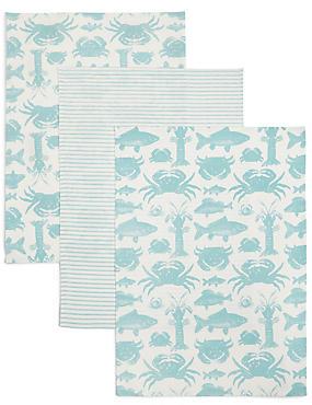 3 Pack Seaside Print Tea Towel