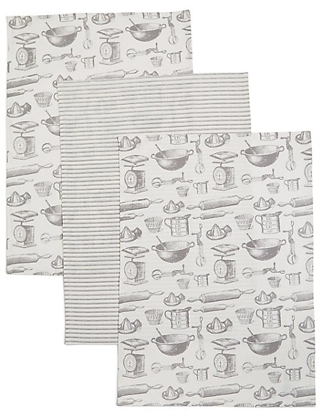 Set of 3 Bake Print Tea Towel