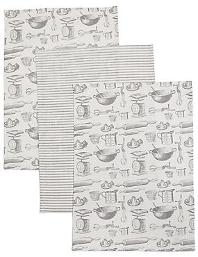 Set of 3 Bake Print Tea Towel
