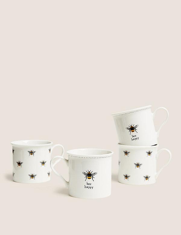 Set van 4 mokken met bijenmotief