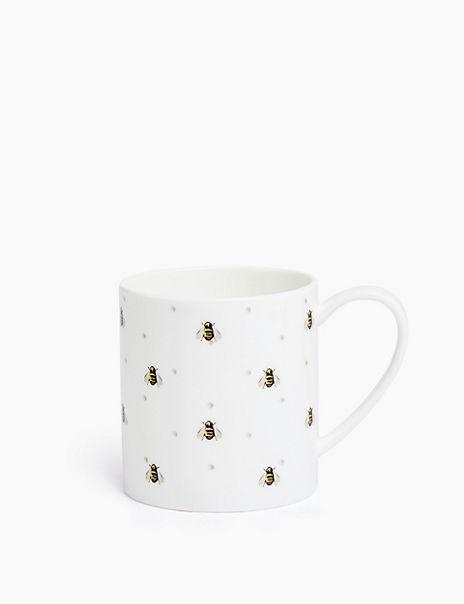 Bee Patterned Fine Bone China Mug