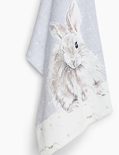 Cotton Bunny Print Tea Towel