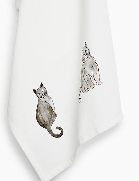 Cotton Cat Print Tea Towel