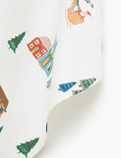 Cotton Festive House Print Tea Towel