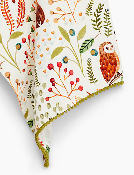 Cotton Woodland Print Tea Towel