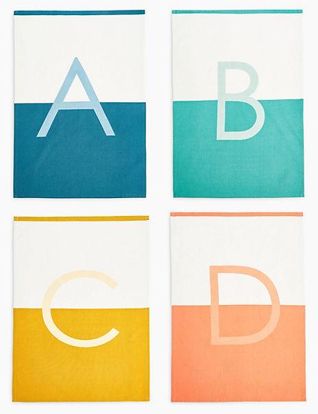 Cotton Alphabet Print Tea Towel