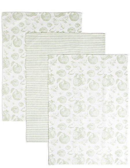 Set of 3 Apple Kitchen Print Tea Towels