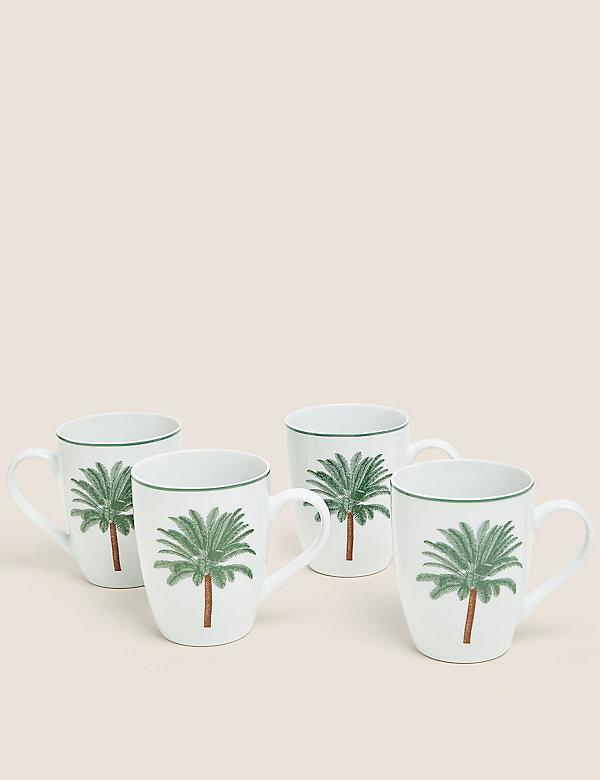 Set van 4 mokken met palmmotief