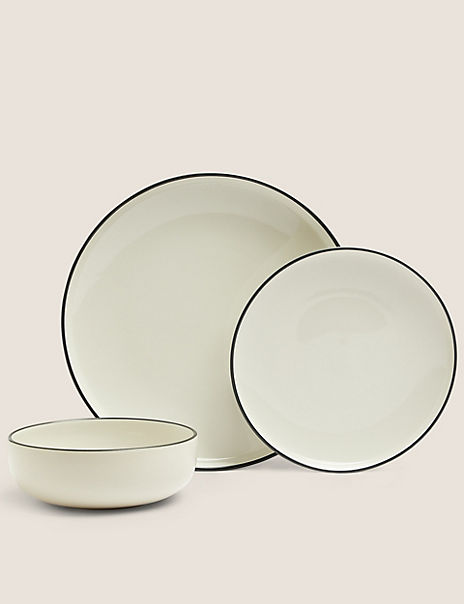12 Piece Tribeca Rimmed Stoneware Dinner Set