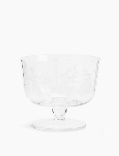 Glass Botanical Serving Bowl