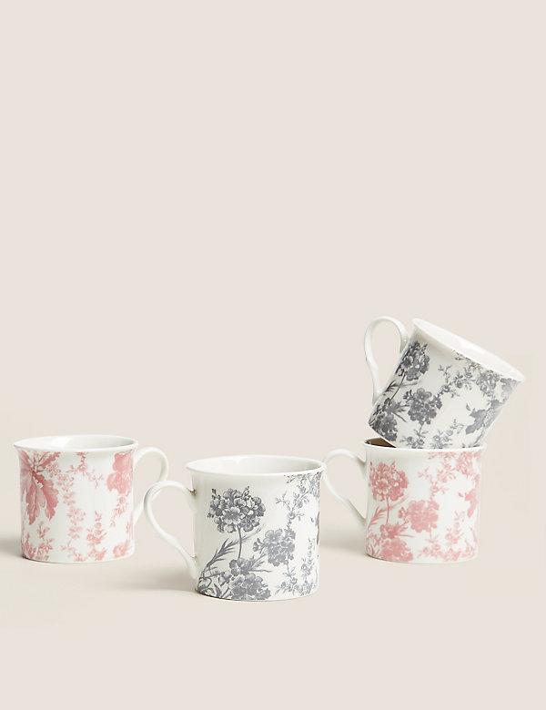 Set van 4 mokken met bloemmotief