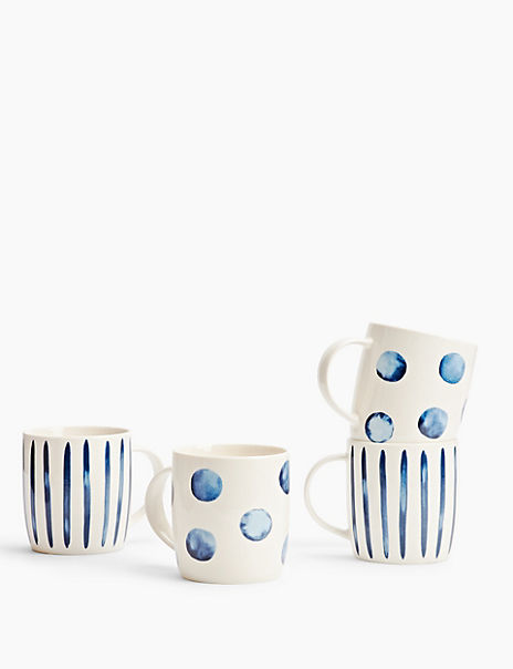 4 Pack China Geometric Patterned Mugs