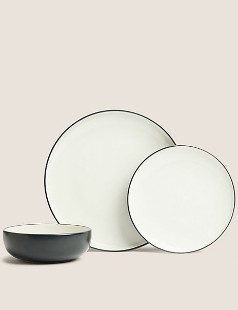 12 Piece Tribeca Matte Stoneware Dinner Set