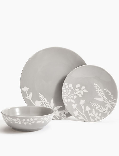 12 Piece Botanical Crockery Set