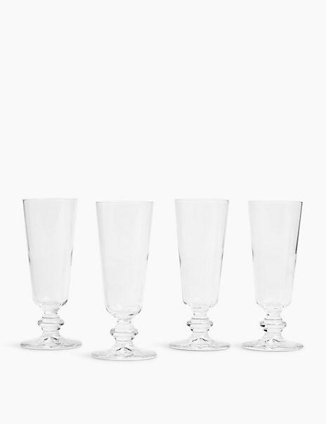Set of 4 Flute Wine Glasses