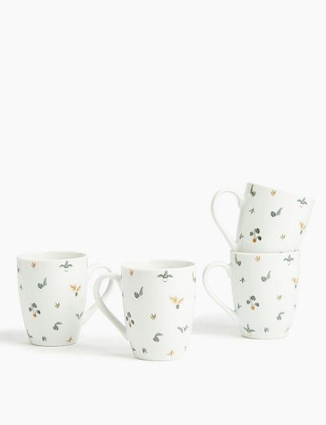 Set of 4 Plant Print Mug