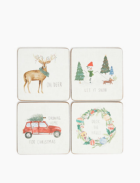 4 Pack Festive Printed Cork Back Coasters