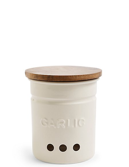 Worded Powder Coated Garlic Storage Tin