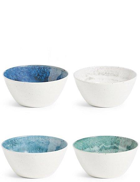 Reactive Set of 4 Melamine Cereal Bowls