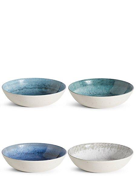 Reactive Set of 4 Melamine Pasta Bowls