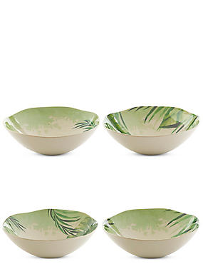 Leaf Print Set of 4 Melamine Cereal Bowls