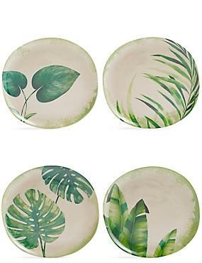 Leaf Print 4 Pack Melamine Dinner Plates