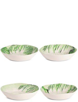Leaf Print Set Of 4 Melamine Pasta Bowls by Marks & Spencer