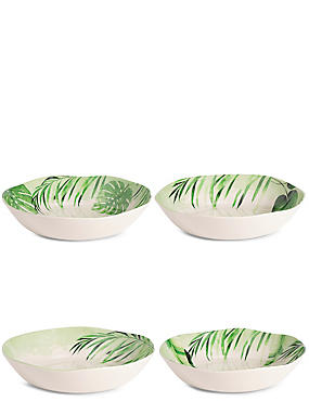 Leaf Print Set of 4 Melamine Pasta Bowls