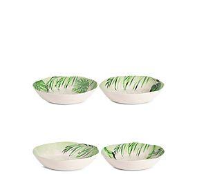 Leaf Print Set of 4 Melamine Pasta Bowls