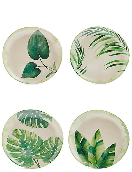 Leaf Print Set of 4 Melamine Side Plates
