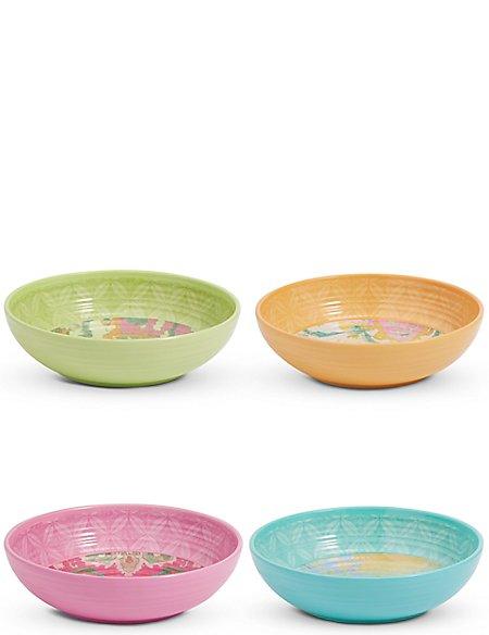 Set of 4 Summer Bright Melamine Pasta Bowls