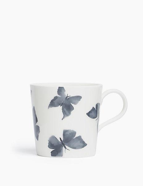 Indigo Fine China Butterfly Print Mug