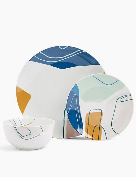 12 Piece Abstract Dinner Set