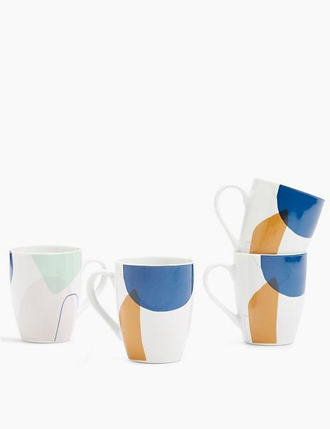 Set of 4 Abstract Mugs