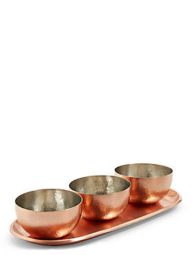 Hammered Metal Chip & Dip Set