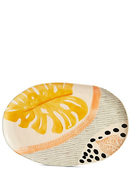 Hand Painted Abstract Oval Platter