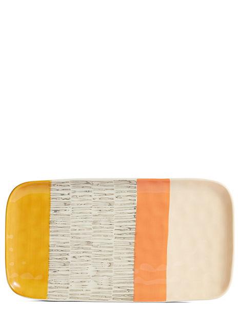 Hand Painted Abstract Rectangular Platter
