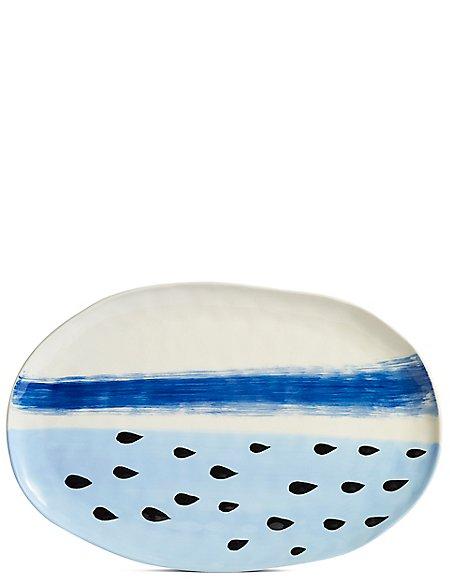 Hand Painted Brushstrokes Oval Platter
