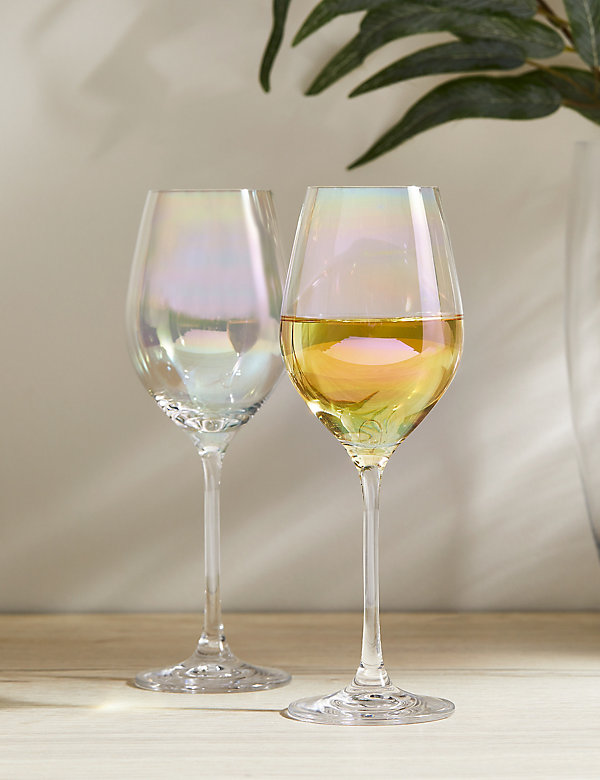 Lot de 2verres à vin blanc, effet brillant