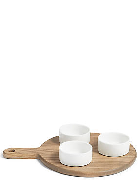 3 Pack Ash Wood Dip Bowl Platter